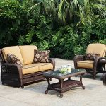 Use wicker outdoor furniture to brighten up your outdoor space