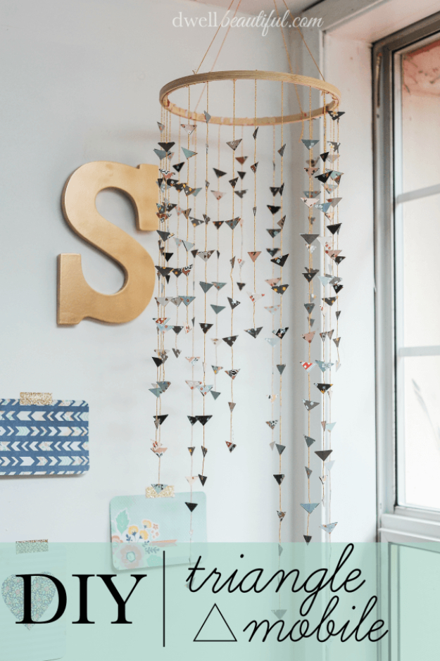 42 diy room decor for girls - diy triangle mobile - awesome do INHFCIR
