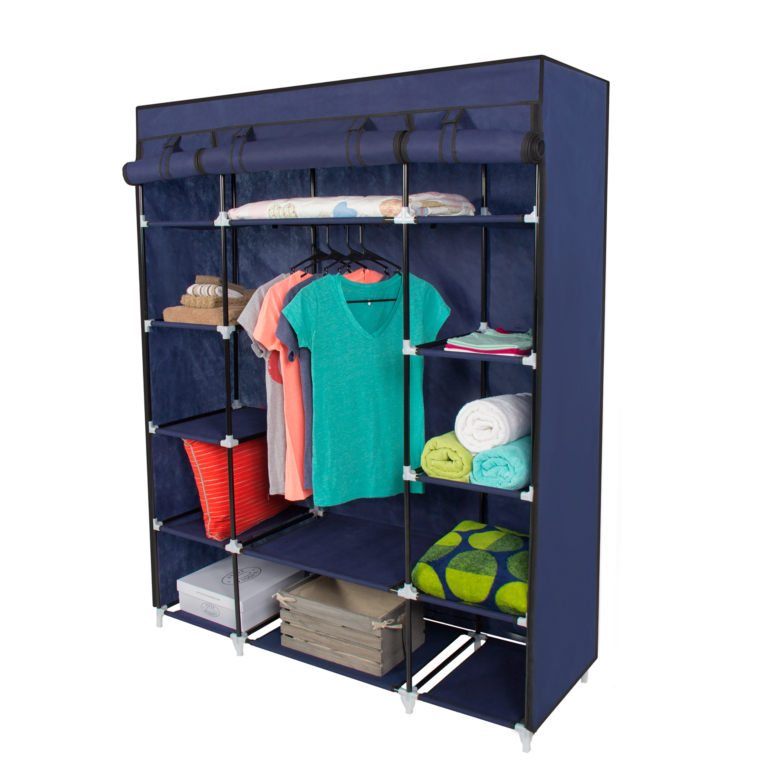 53u201d portable closet storage organizer wardrobe clothes rack with shelves  blue AAKXSRU