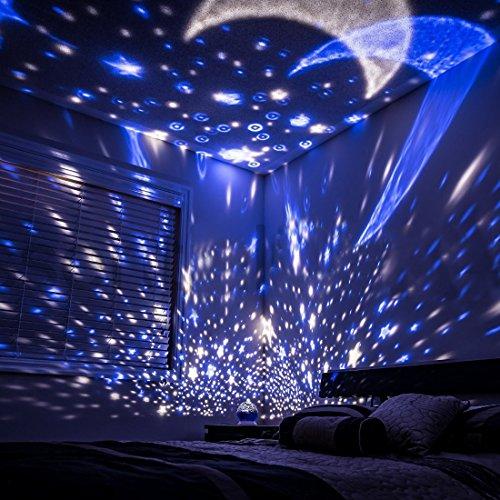 amazon.com: lizber baby night light moon star projector 360 degree rotation  - YKUVTMO