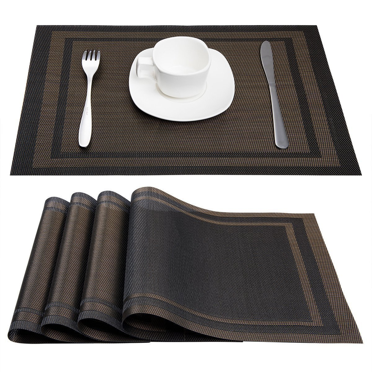 amazon.com: placemats, artand heat-resistant placemats stain resistant  anti-skid washable pvc table mats RULMCNT