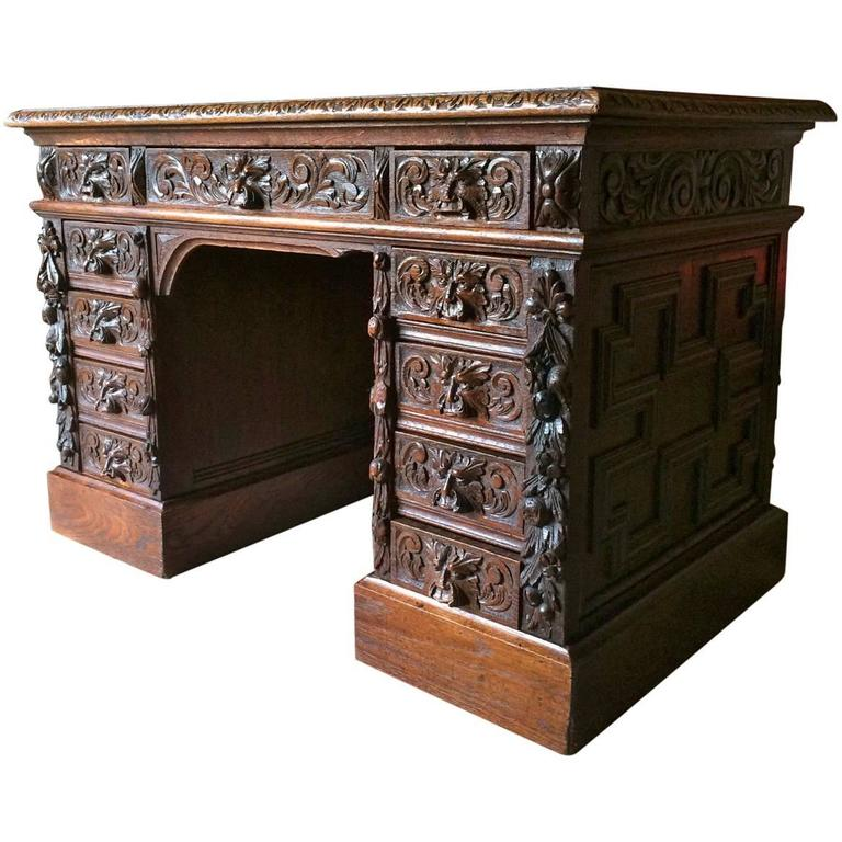 antique desk solid oak green man heavily carved victorian, 19th century 1 OPPWZCS