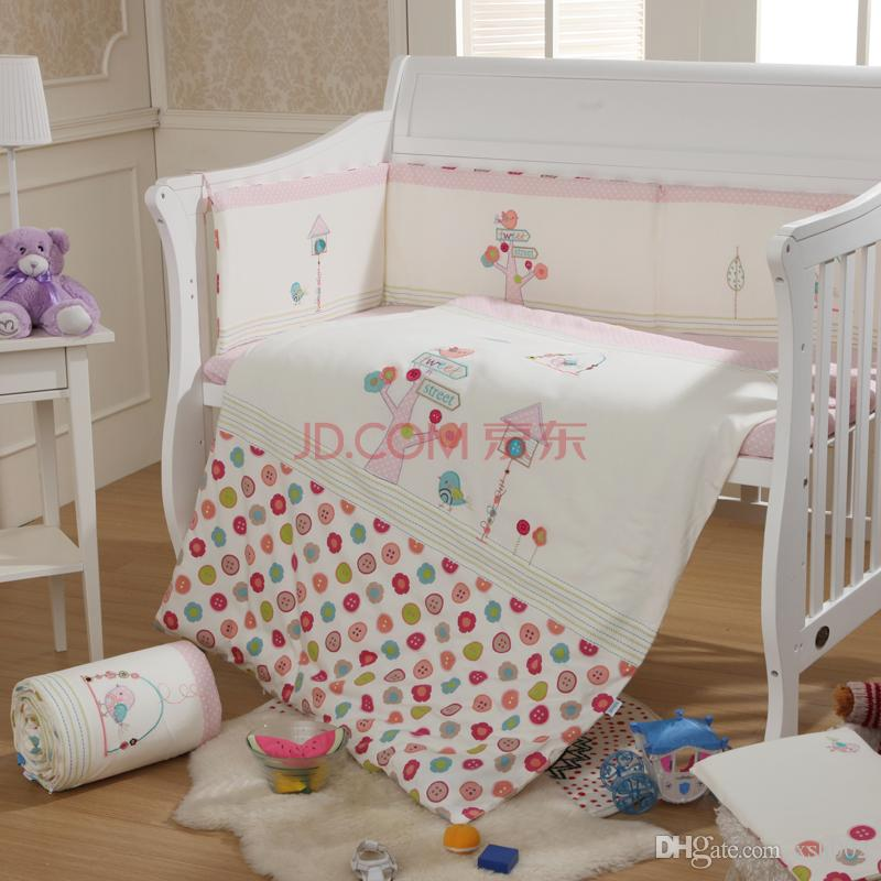 baby bedding set crib bedding set 2016 cot bedding set embroidery bird tree OGMXBAS