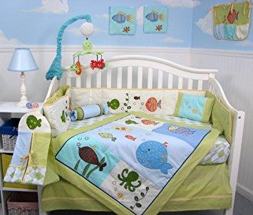baby bedding sets soho gold fish aquarium baby crib bedding set 13 pcs included diaper bag RRVDQOF
