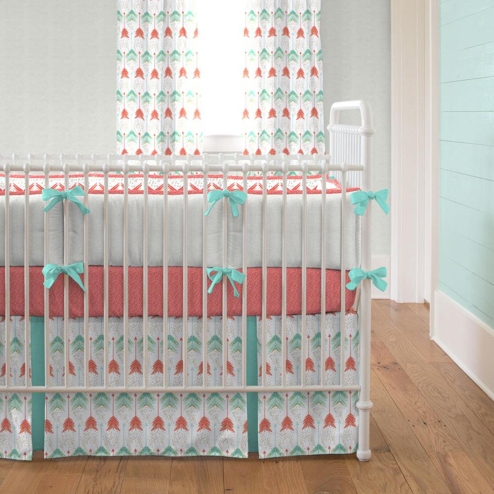 baby girl bedding ... coral and teal arrow crib bedding DBUCGDG