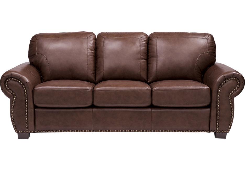 balencia dark brown leather sofa - leather sofas (brown) ENSOAQM