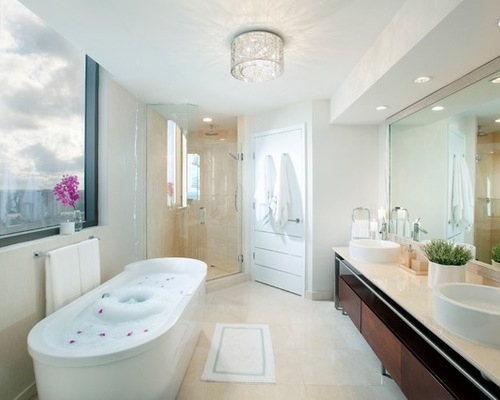 bathroom ceiling lights contemporary bathroom idea in miami with a freestanding tub and a vessel KZHMTME