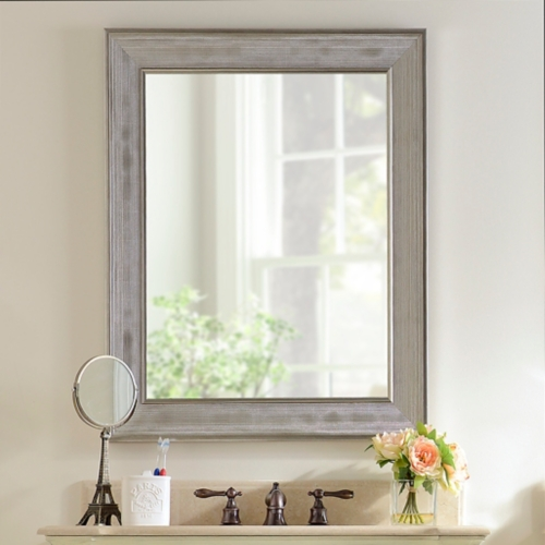 bathroom mirrors silver grid framed mirror, 29x35 in. JZGUEPY
