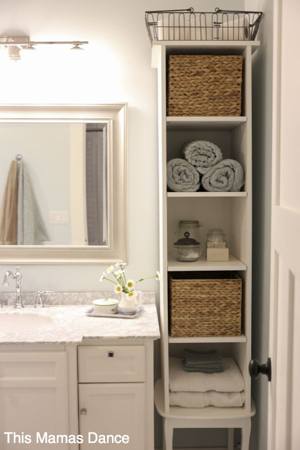 bathroom storage white bathroom vanty, tall cabinet, cottage style | this mamas dance HUPJVCR