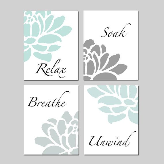 bathroom wall art relax soak unwind bathroom decor wall art set of 4 prints - aqua PGSZNTP