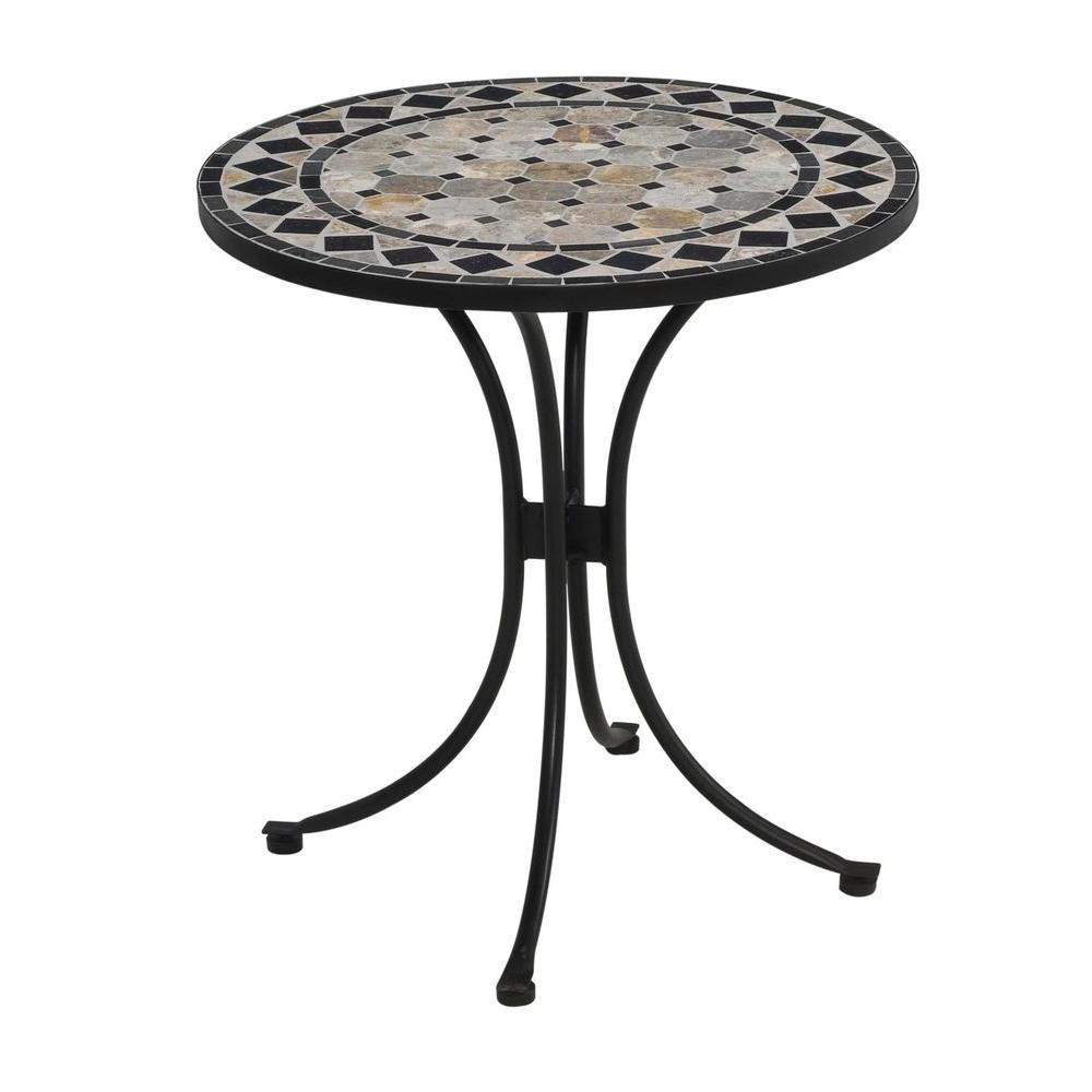 black and tan round tile top patio bistro table NMDPOGX