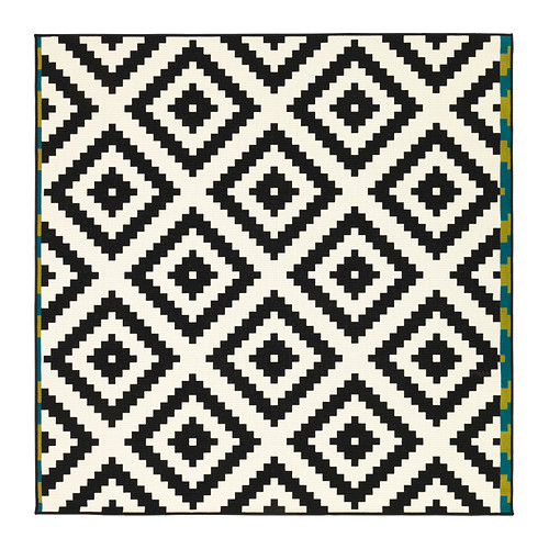 black and white rug lappljung ruta rug, low pile ikea easy to vacuum thanks to its flat BYYFEHK