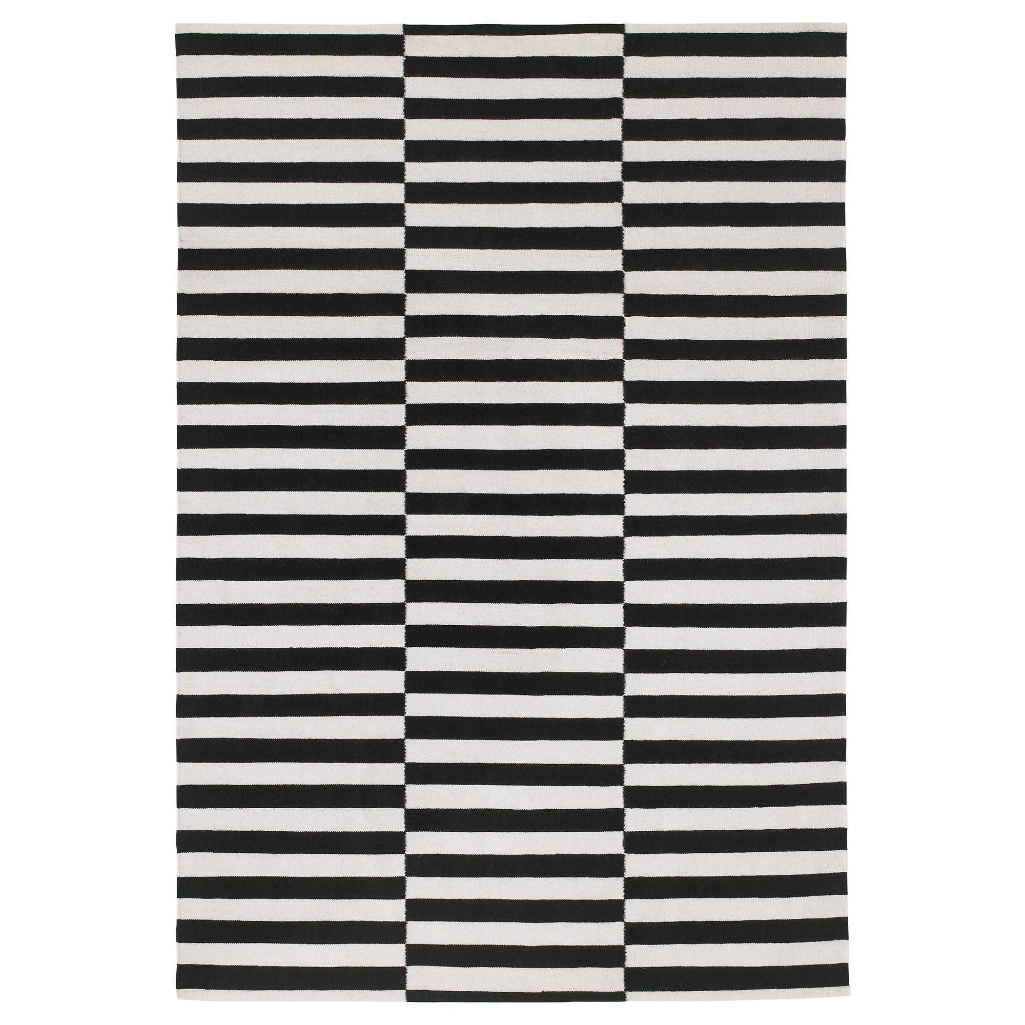 black and white rug stockholm rug, flatwoven, black stripe handmade, stripe off-white black/off ZCENXHM