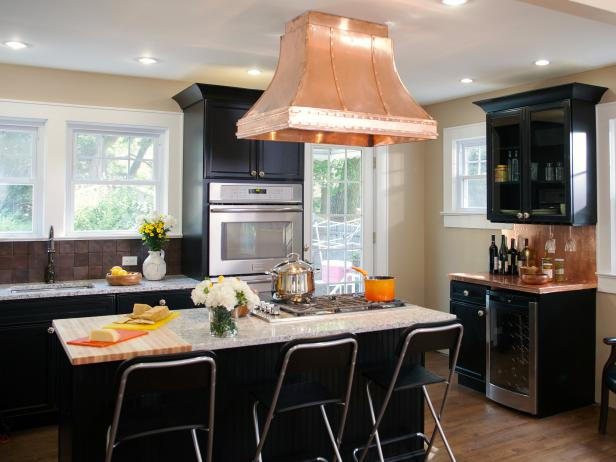 black kitchen cabinets transitional kitchen with black cabinets u0026 copper vent hood IJONYRA