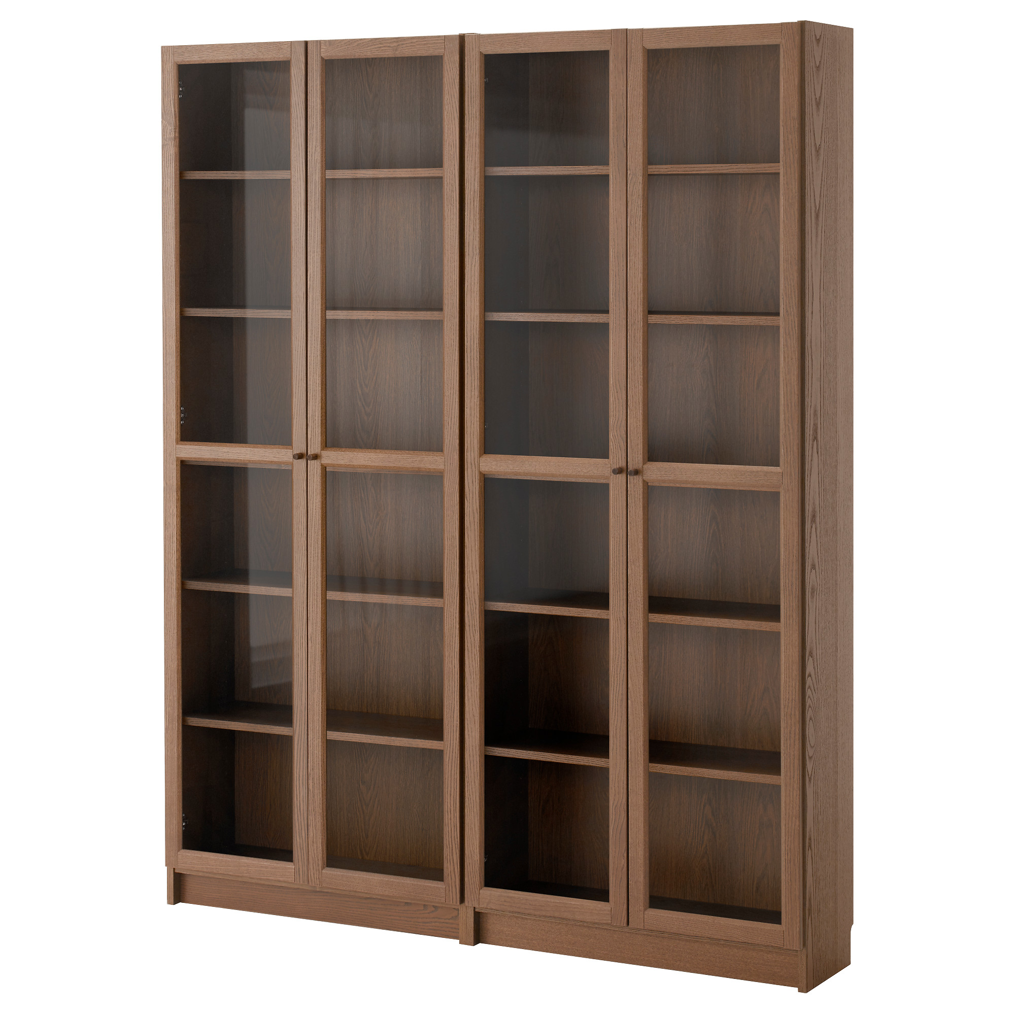 bookcases billy / oxberg bookcase, brown, ash veneer glass width: 63  VKEJHRM