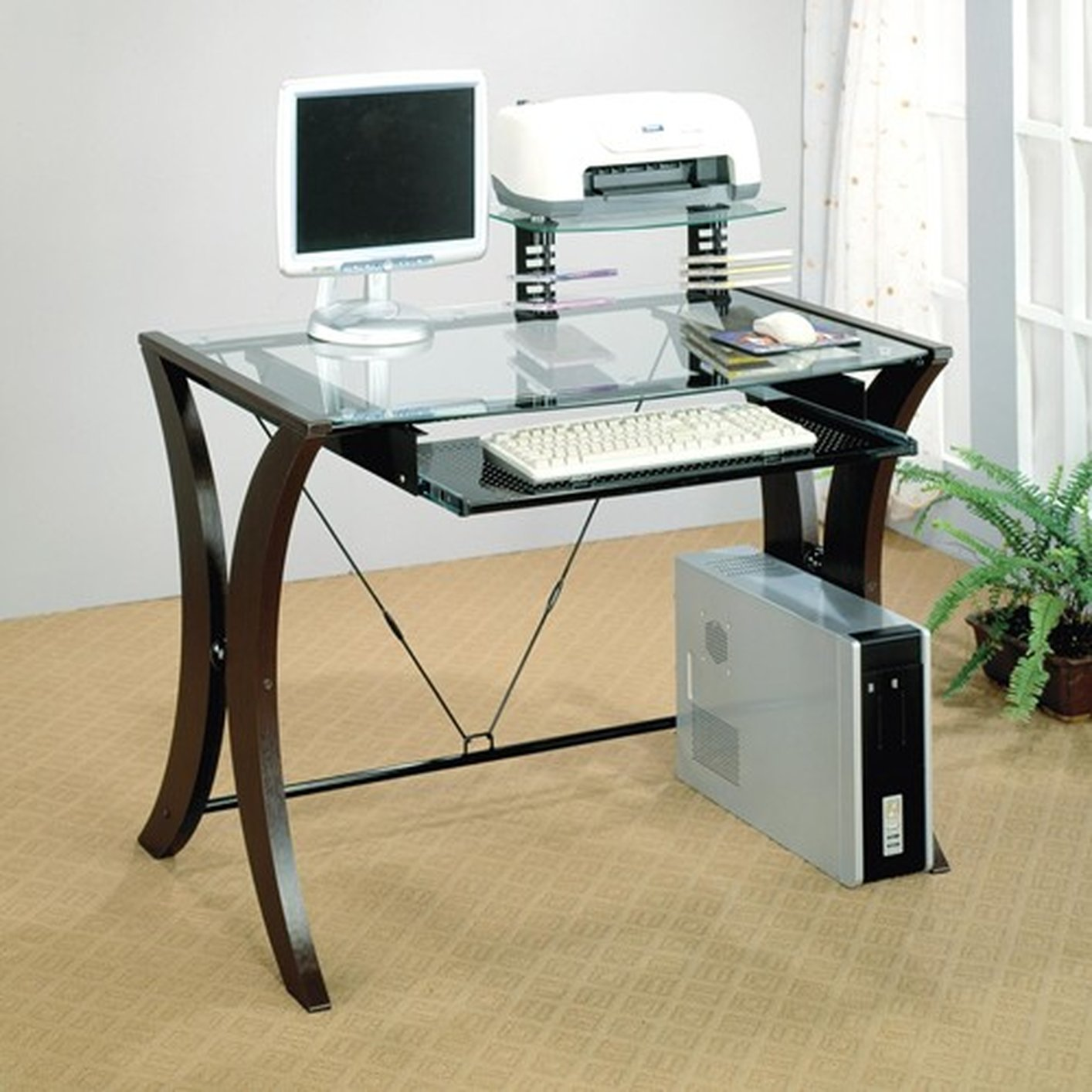 brown glass computer desk UZDHOPV