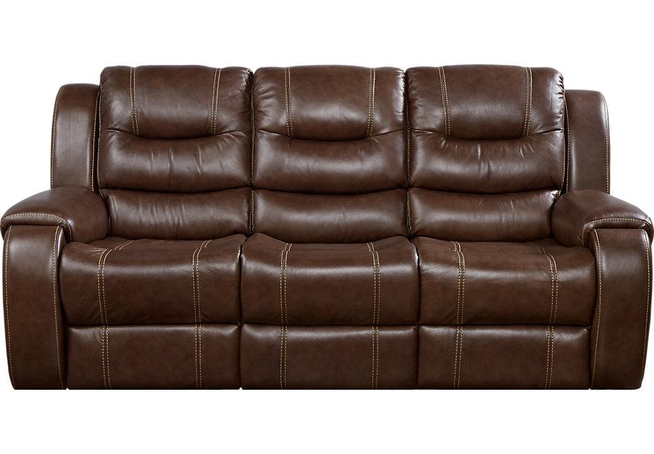 brown leather sofa veneto brown leather reclining sofa - leather sofas (brown) LTYCBQX