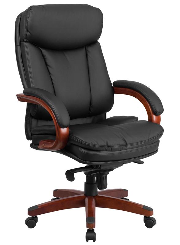 btod high back leather office chair - mahogany wood base VAKLUSL