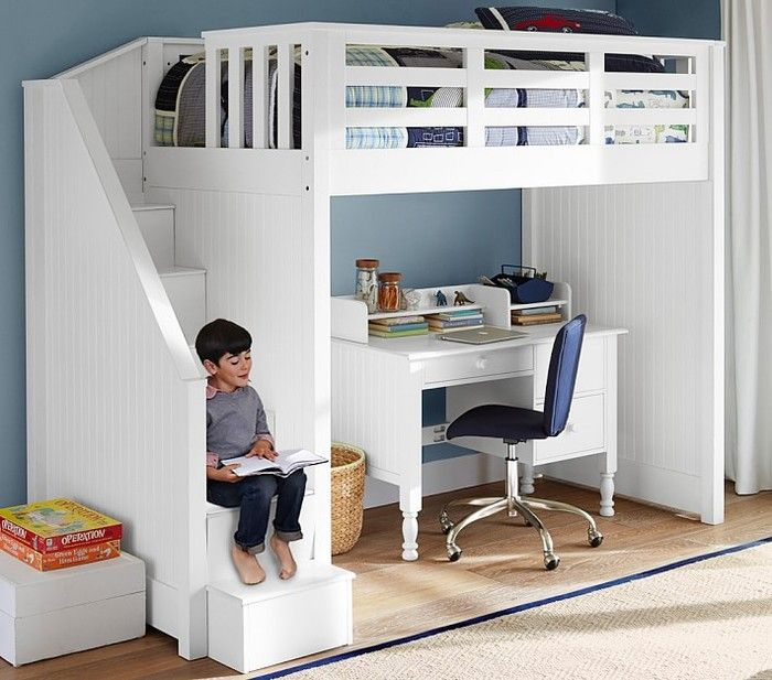 bunk beds with desk catalina stair loft bed, cocoa ODWHDBZ