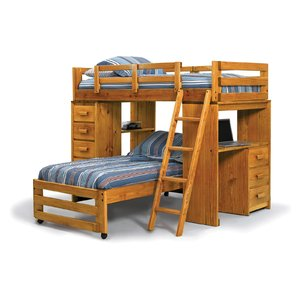 bunk beds with desk twin l-shaped bunk bed BYHJTVQ
