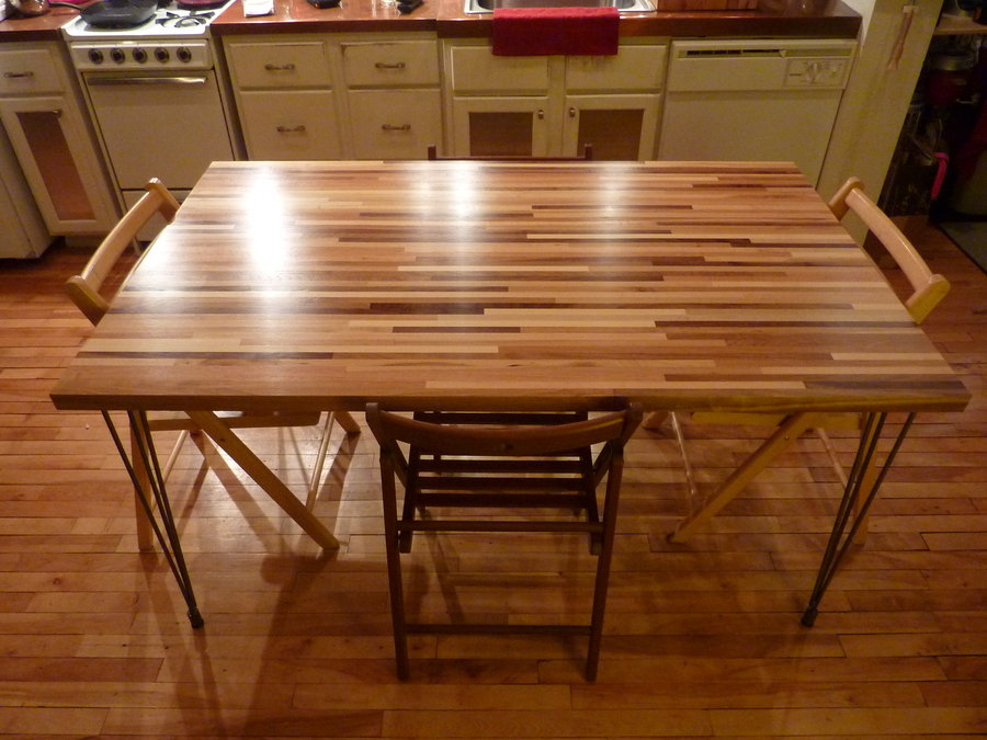 butcher block table butchers block dinning table w/ high gloss finish CBIFMSR