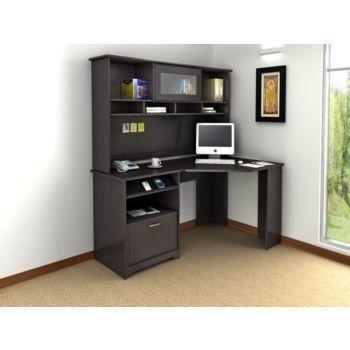 cabot collection corner desk in espresso oak by bush furniture BIBQAIF