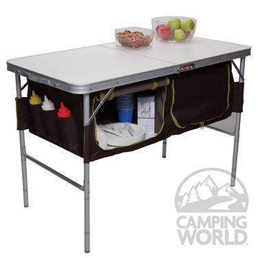 camping table folding camp table with storage bins - westfield outdoor inc ta-519 - VVEDQRB