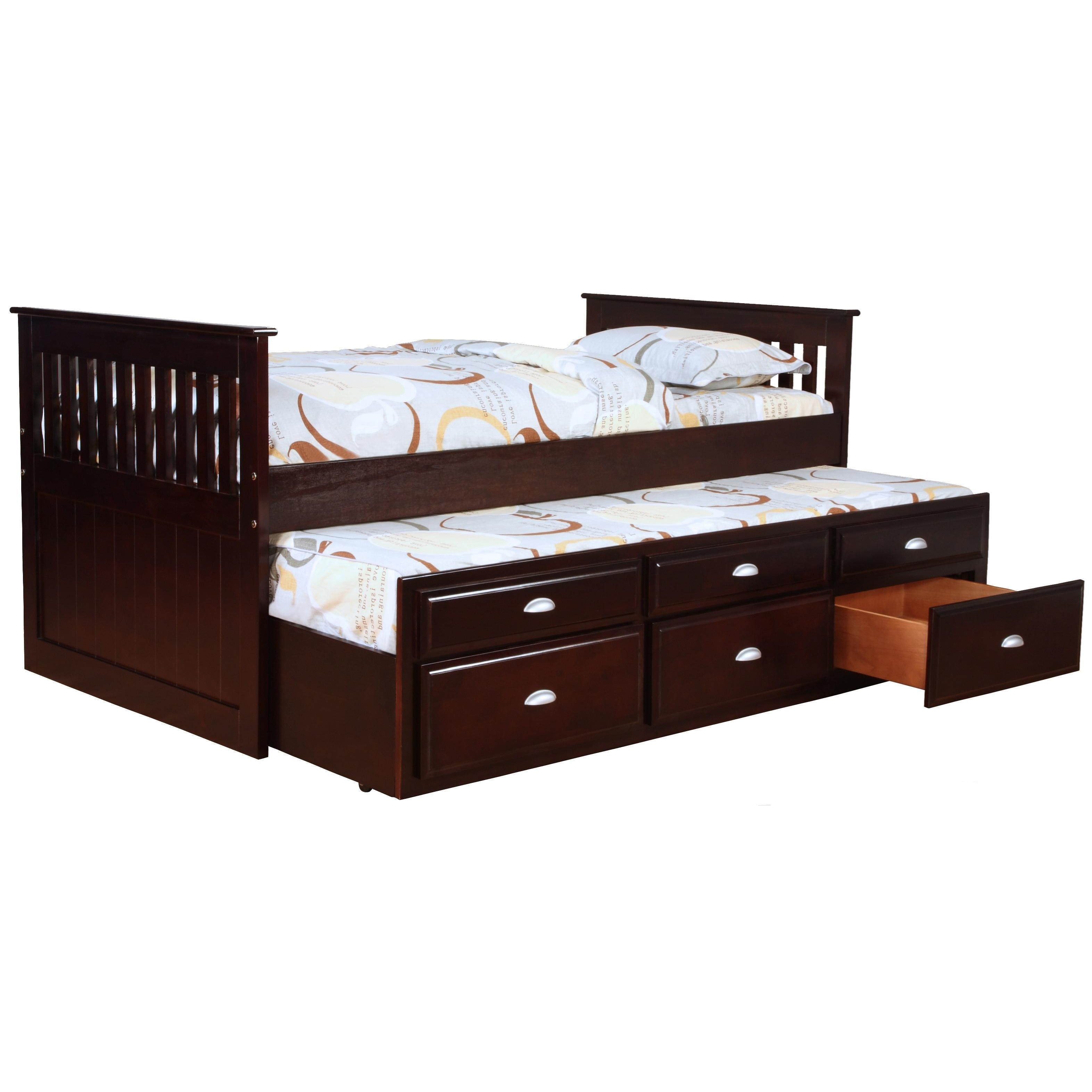 captains bed bernards logan captainu0027s bed with trundle and storage - item number: 3040v NSJAHSO