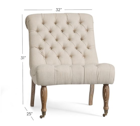 carolyn tufted slipper chair. tap for 360 NBLTEIG