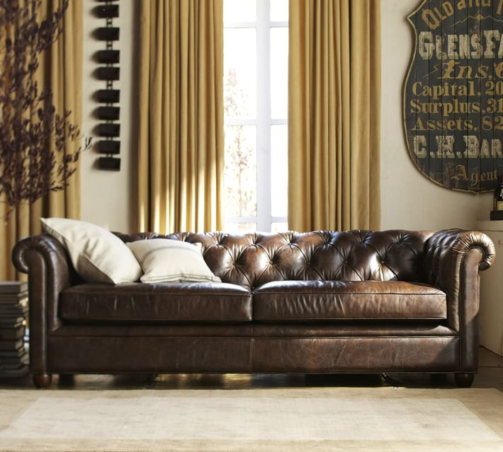 chesterfield sofa chesterfield leather sofa | pottery barn RBDHJSQ