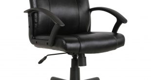 computer chair mainstays mid-back leather office chair, black UFMWPUW
