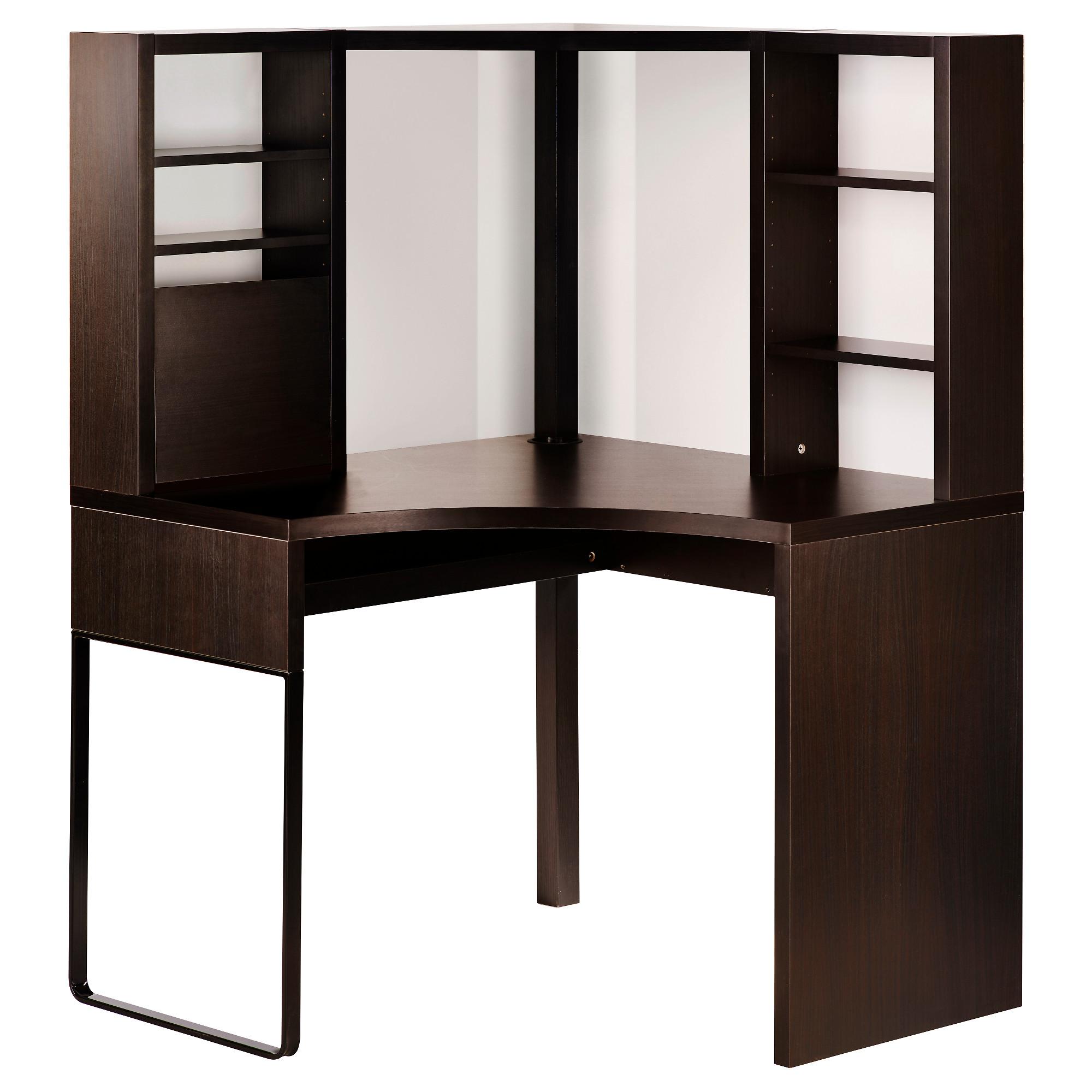 computer desk micke corner workstation - black-brown - ikea PCGOWMS