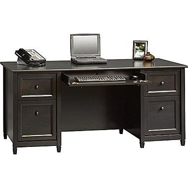 computer desk sauder® edgewater collection executive desk, estate black JDLMXZS