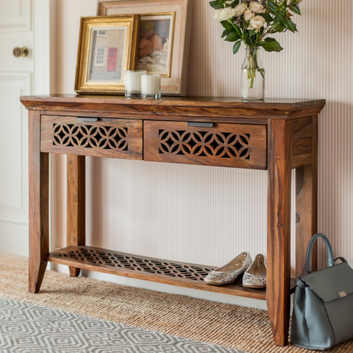 console or hallway table made from hand waxed sheesham wood. with  decorative CGPOIUZ