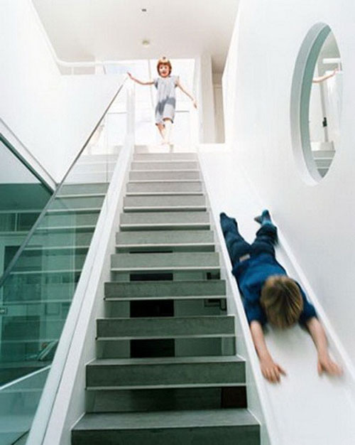 cool design ideas - stairs with slide CTKYNMI