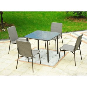 correa metal rattan wicker outdoor furniture 5 piece dining set DETDVAG