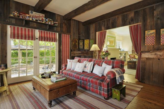 country home decor decorative fabrics and deep red and green colors for country home decorating PVEWKQM