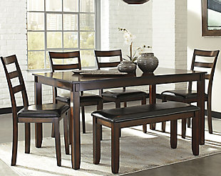 coviar dining room table and chairs with bench (set of 6) NOAIUSY