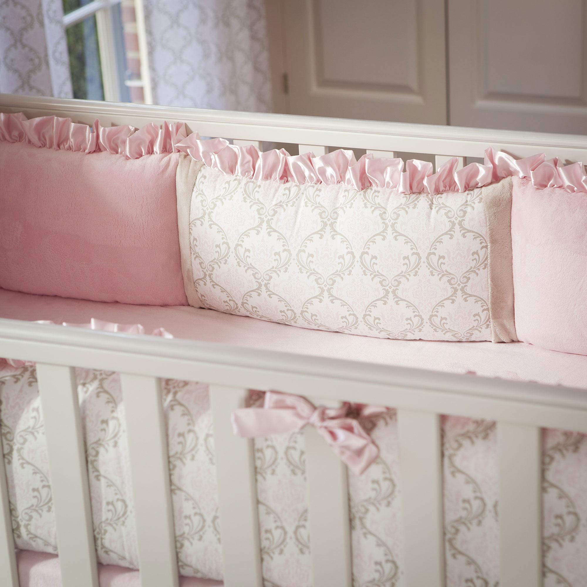 crib bumpers pink and taupe damask crib bumper VIFFECJ
