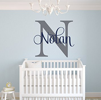 custom name monogram wall decal - nursery wall decals - name wall decor SJEWCOJ