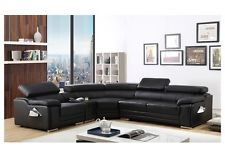 dakota black bonded leather corner sofa left hand JFROPWI