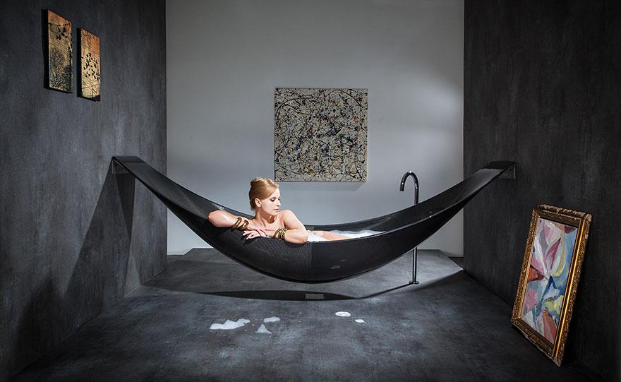 design ideas hammock-like bathtub HKWMLXO