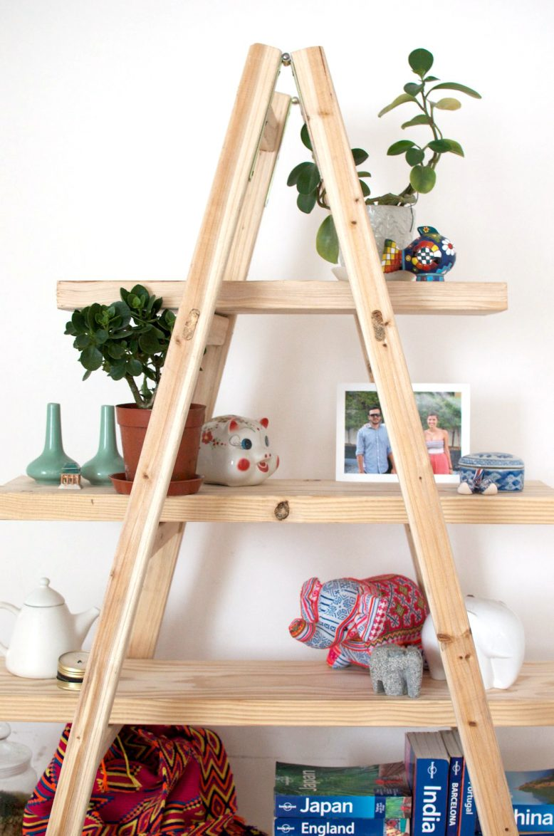 diy ladder shelves LSKJOTW