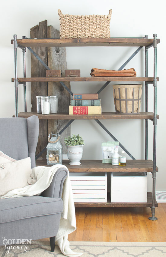 diy shelves industrial-wood-and-pipe-shelving-unit-16 UAMOANG