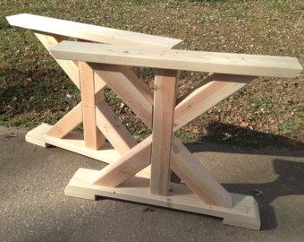 farmhouse trestle table legs, x-frame table legs, wood table legs, wide UEALFLJ