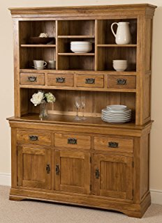 french rustic solid oak large welsh dresser cabinet wall unit GXRTNZG