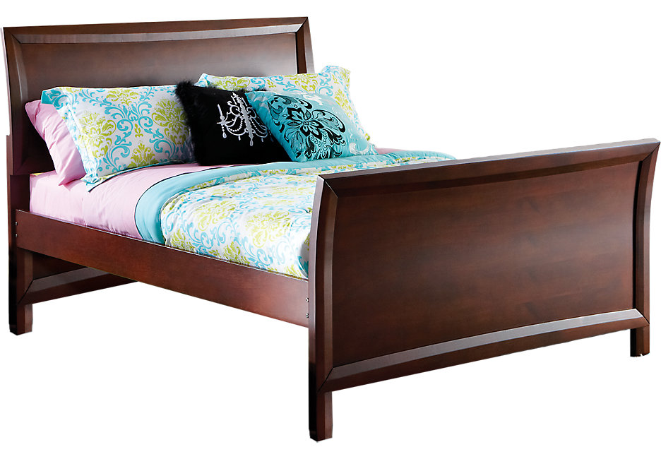 full bed ivy league cherry 3 pc full sleigh bed - beds dark wood IAAVUFI