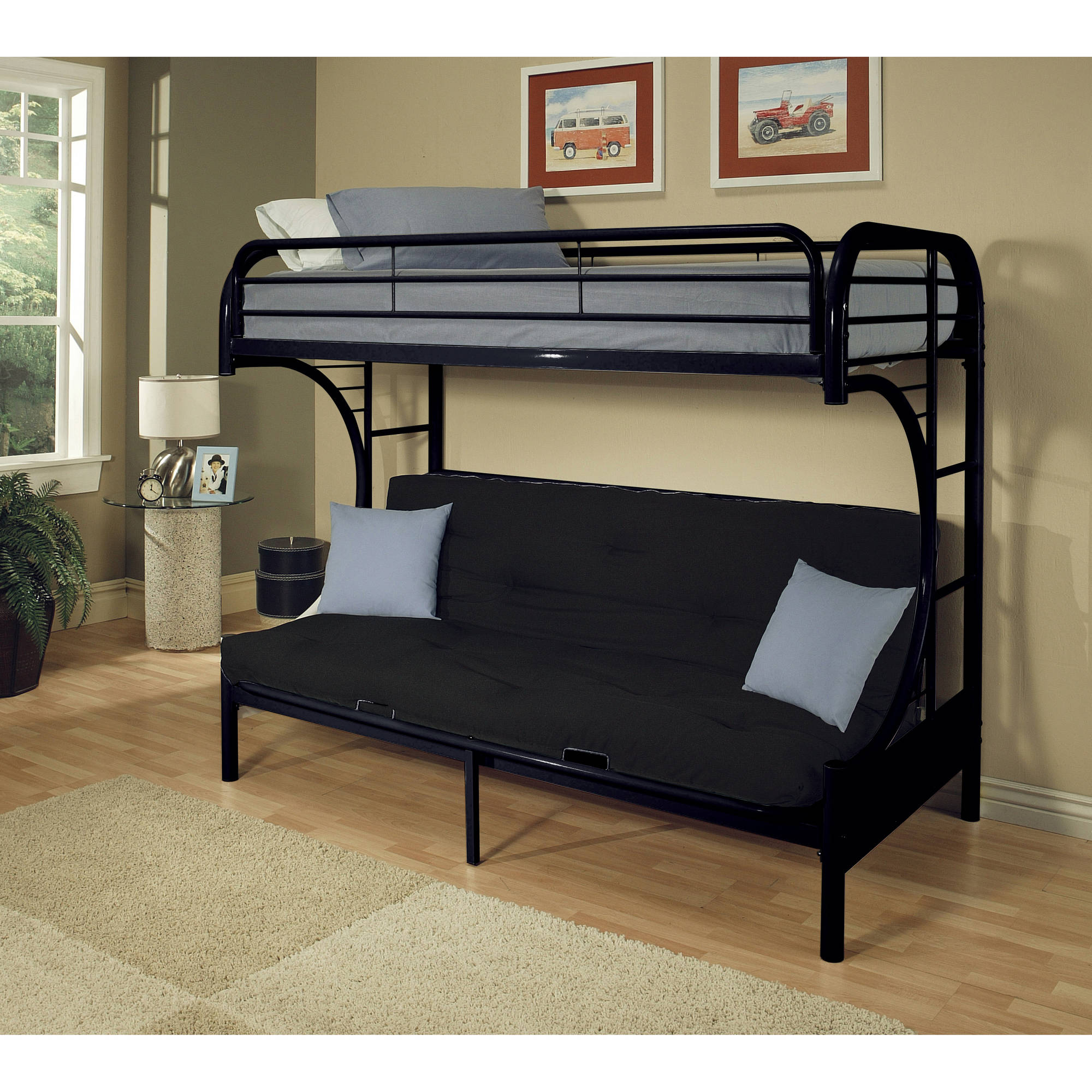 futon beds acme eclipse twin xl over futon metal bunk bed, black - walmart.com KRMAWSQ