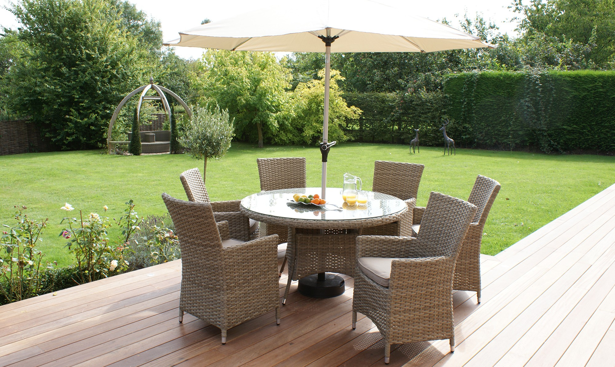 garden table and chairs antilles - 135cm round table u0026 6 chair set natural rattan including free KEIAKOM
