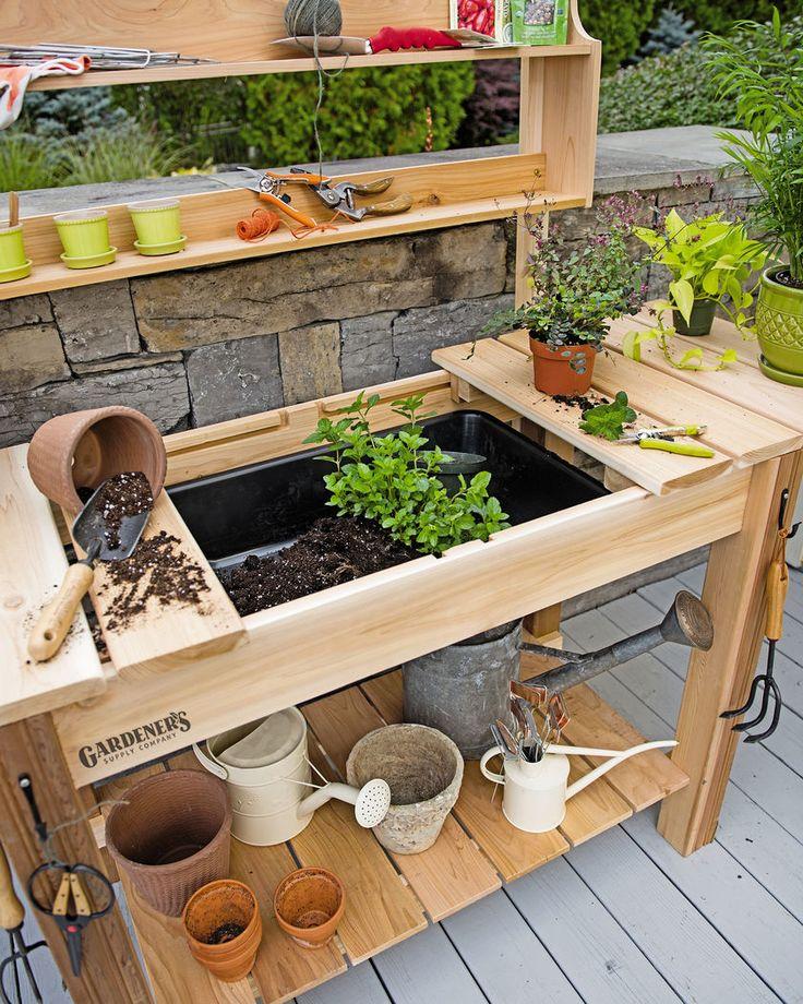 garden table potting bench - cedar potting table with soil sink and shelves BKAMYQP
